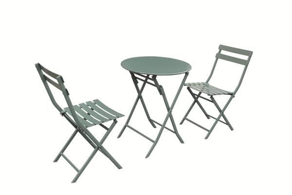 Bilde av Bistro sammenleggbart kafesett 2 stoler+bord - jadegrønn