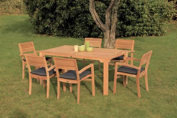 Bilde av Figaro sett 6 stabelbare stoler+bord 160x95 cm - teak
