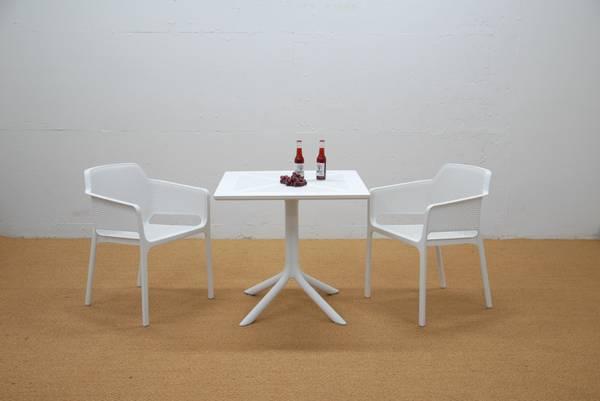Bilde av Nardi Net sett 2 spisestoler+bord 80x80 cm - hvit