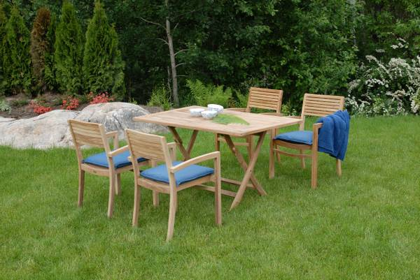 Bilde av Figaro sett 4 stabelbare stoler+bord 140x80 cm - teak