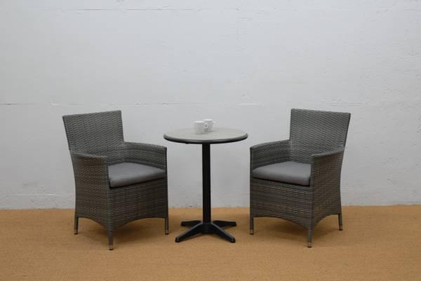 Bilde av Oregon sett 2 stoler m/puter+bord Ø60 cm - gråmelert/skimmergrå