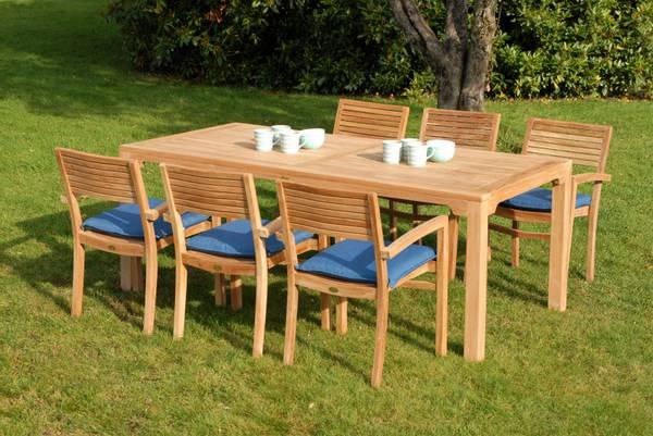 Bilde av Figaro sett 6 stabelbare stoler+bord 200x95 cm - teak